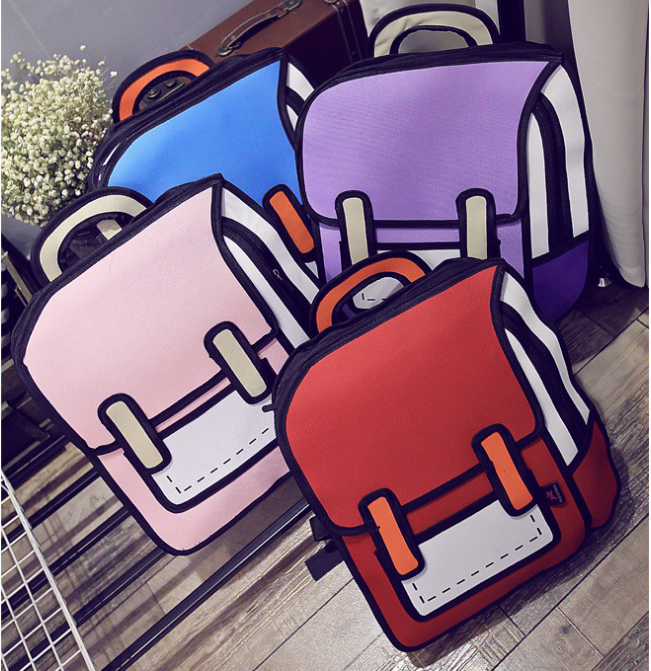 Cartoon Anime Comics Pack 2D Stereo Bag 3D Funny Personality Super Cute Backpack Female Creative Backpack