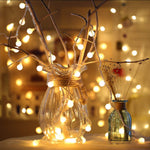 100 LED Globe String Lights Ball String Fairy Lighting Indoor Outdoor Decorative Light USB Powered Warm White Light for Patio Garden Party Christmas Tree Wedding Dorm Room Decorations