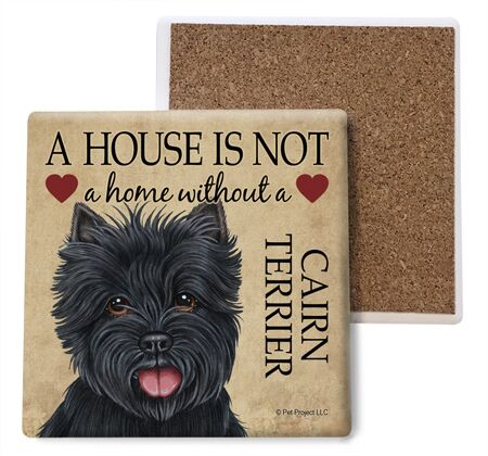Cairn Terrier (black) Absorbent Stone Coaster