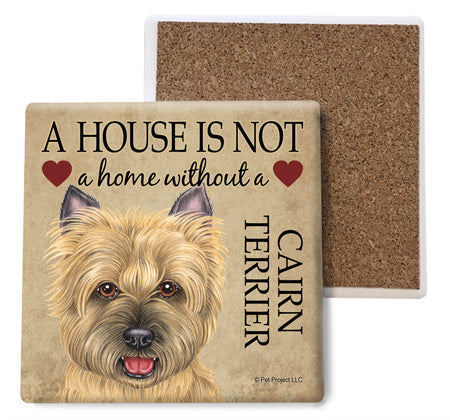 Cairn Terrier (tan) Absorbent Stone Coaster