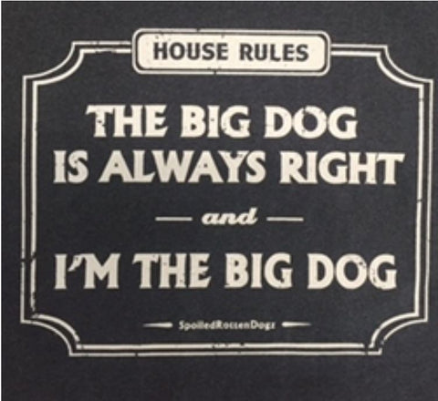 House Rules: The Big Dog Is Always Right Heather Gray Blue T-Shirt