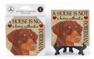 Doberman Pinscher (red-brown, dropped ears) Absorbent Stone Coaster