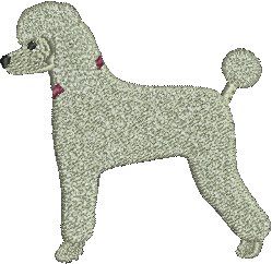 Poodle White Embrodiered Baseball Caps