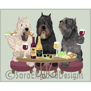 Bouvier Natural 3 Dogs Prints