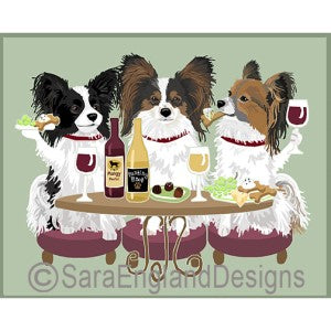 Papillion 3 Dogs Prints