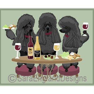 Poodle-Standard Black Sport Cut 3 Dogs Prints
