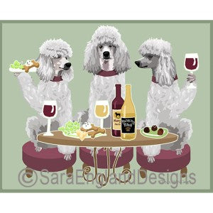 Poodle-Standard White 3 Dogs Prints