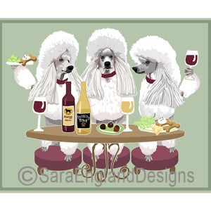 Poodle-Standard White Sport Cut 3 Dogs Prints