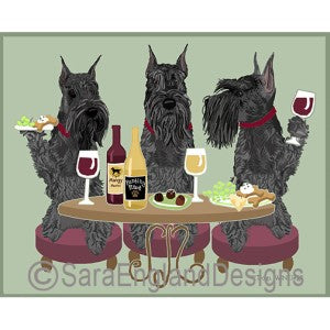 Schnauzer Standard Black 3 Dogs Prints