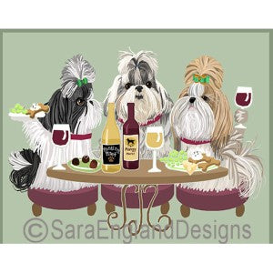 Shih Tzu Show Cut 3 Dogs Prints