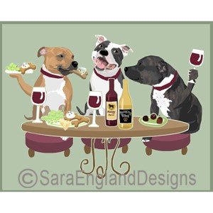 Staffordshire Bull Terrier 3 Dogs Prints