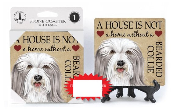 Bearded Collie Absorbent Stone Coaster