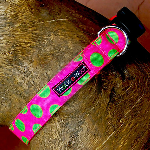 Neon Green Dots on Pink Walk-E-Woo Collar