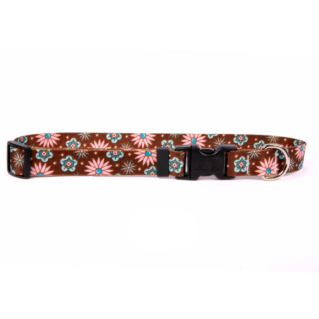 Pink and Teal Flowers Yellow Dog Collar