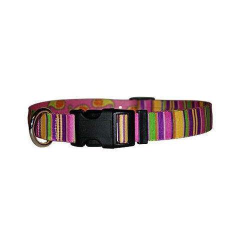 Pink Stripes Yellow Dog Collar