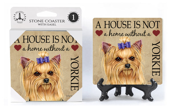 Yorkshire Terrier (with Bow in hair) Absorbent Stone Coaster
