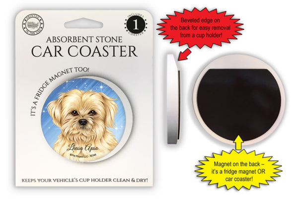 Lhasa Apso Absorbent Stone Car Coaster