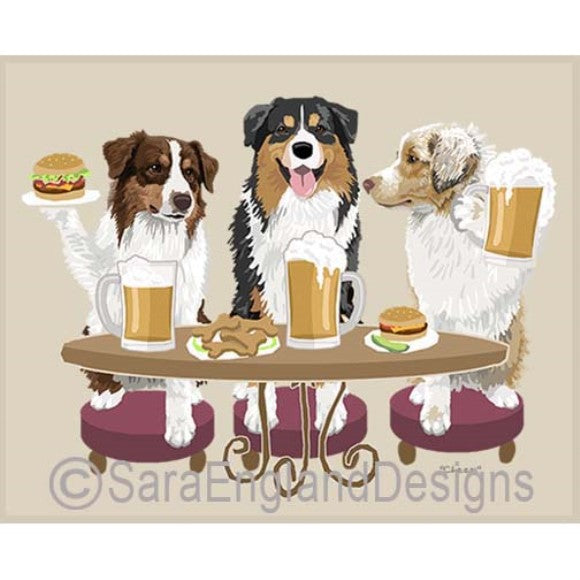 Australian Shepherd 3 Dogs Prints