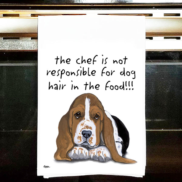 Bassett Hound Kitchen Tea Towel