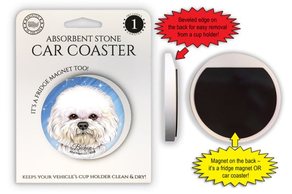 Bichon Frise Absorbent Stone Car Coaster