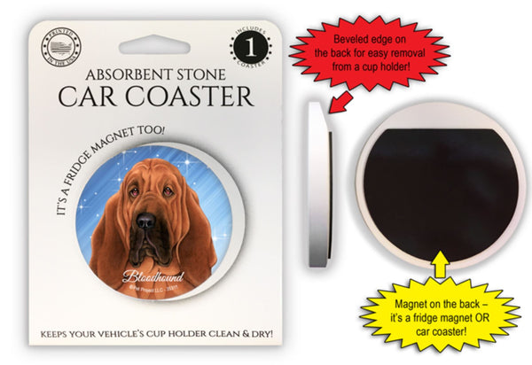 Bloodhound Absorbent Stone Car Coaster