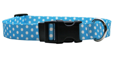 Blue Polka Yellow Dog Collar
