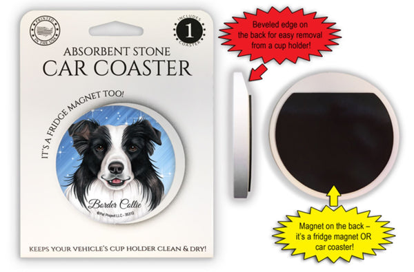 Border Collie Absorbent Stone Car Coaster