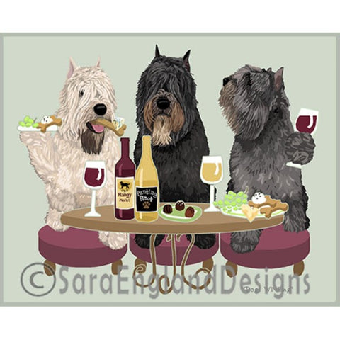 Bouvier Cropped 3 Dogs Prints
