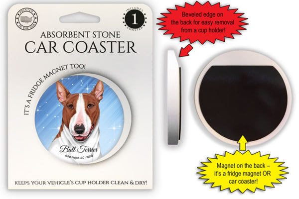 Bull Terrier (Brown and white) Absorbent Stone Car Coaster