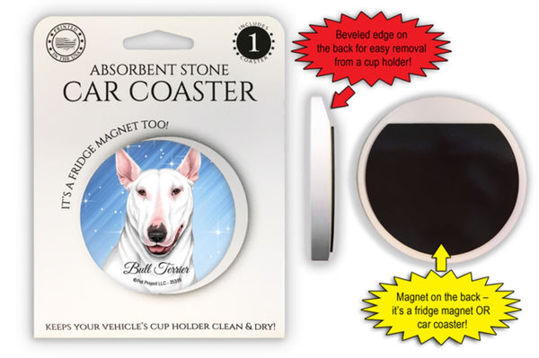 Bull Terrier (White color) Absorbent Stone Car Coaster