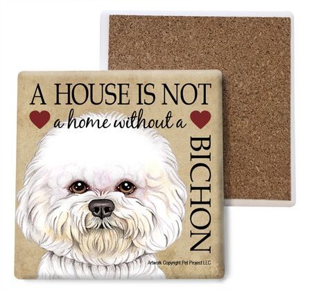 Bichon Frise Absorbent Stone Coaster