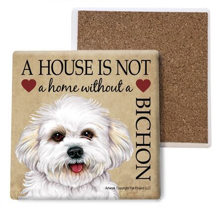 Bichon Frise (puppy cut) Absorbent Stone Coaster