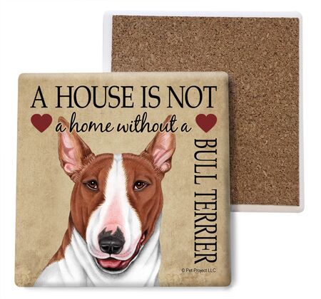 Bull Terrier (Brown and white) Absorbent Stone Coaster