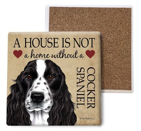 Cocker Spaniel (black and white) Absorbent Stone Coaster