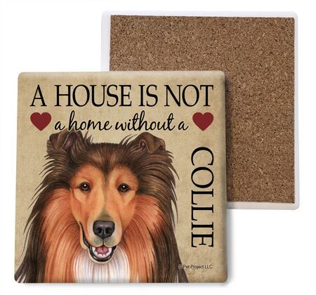 Collie Absorbent Stone Coaster