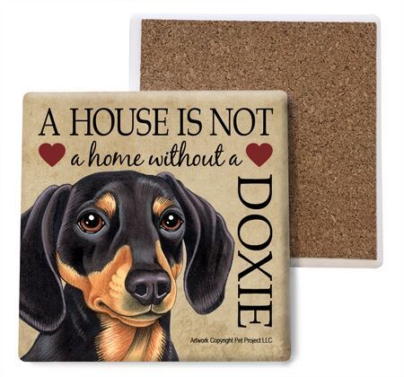 Dachshund (black and tan) Absorbent Stone Coaster