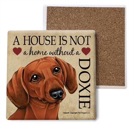 Dachshund (red) Absorbent Stone Coaster