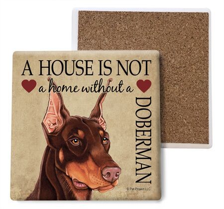 Doberman Pinscher (Brown) Absorbent Stone Coaster