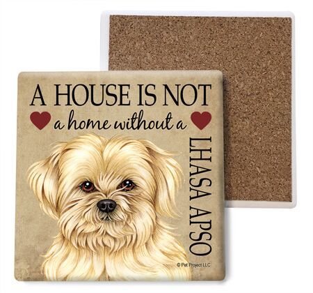 Lhasa Apso Absorbent Stone Coaster