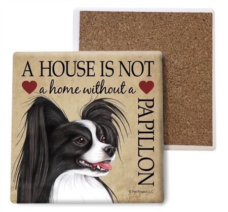 Papillon (Black and white) Absorbent Stone Coaster