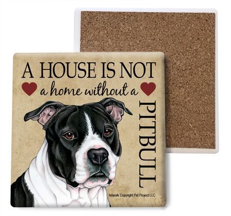 Pitbull (Black and white) Absorbent Stone Coaster