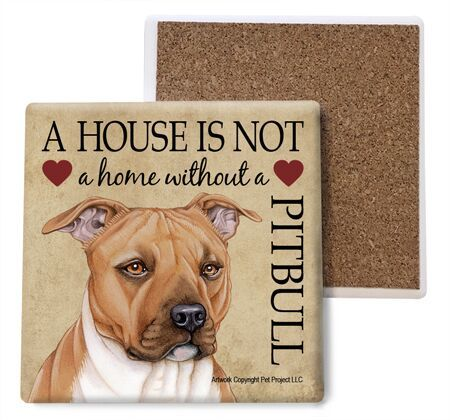 Pitbull (tan) Absorbent Stone Coaster