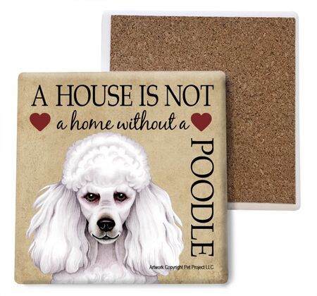 Poodle (white) Absorbent Stone Coaster