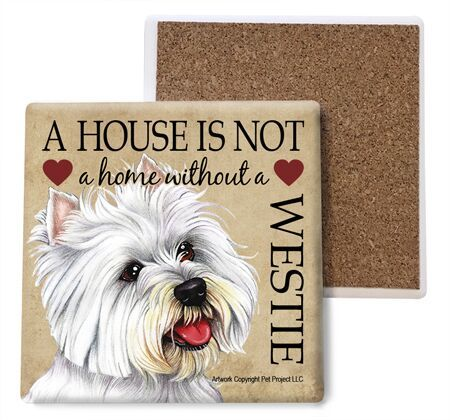 Westie Absorbent Stone Coaster