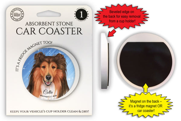 Collie Absorbent Stone Car Coaster