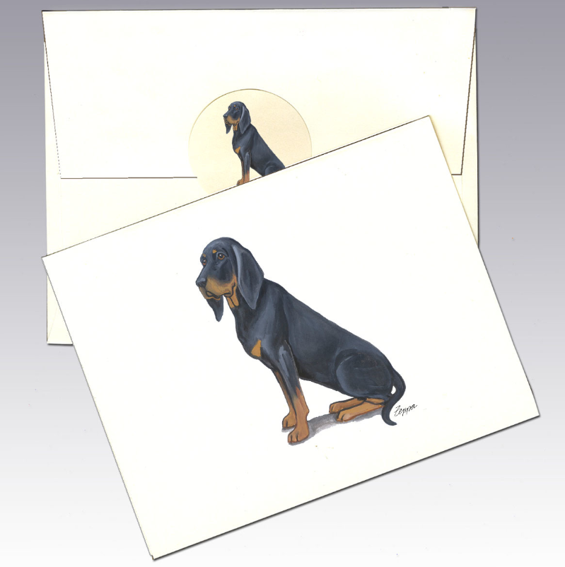 Black and Tan Coonhound 8 Pack Notecards