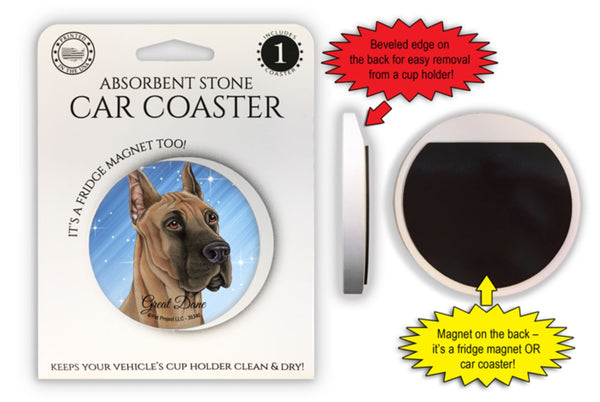 Great Dane Absorbent Stone Car Coaster