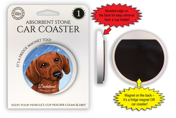 Dachshund (red) Absorbent Stone Car Coaster
