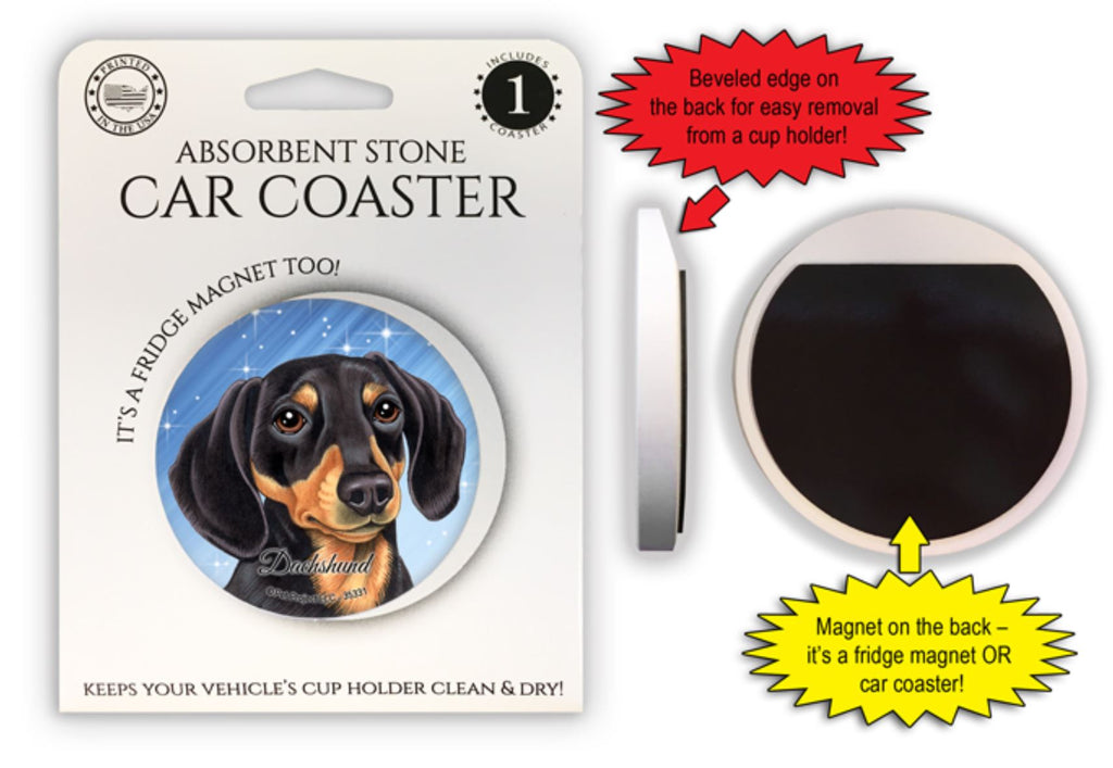 Dachshund (black and tan) Absorbent Stone Car Coaster