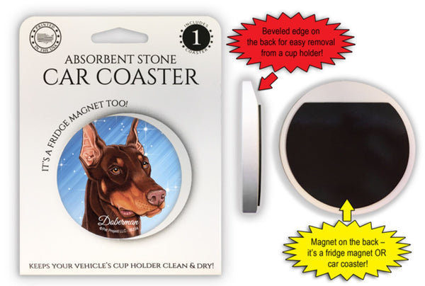 Doberman Pinscher (Brown) Absorbent Stone Car Coaster
